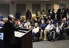 Newly hired University of Kansas football coach Les Miles speaks to the media Sunday, Nov. 18, 2018, at Hadl Auditorium.
