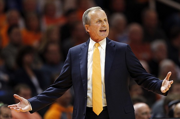Tennessee head coach Rick Barnes reacts to a call during the second half of an NCAA college basketball game against Georgia Tech, Tuesday, Nov. 13, 2018, in Knoxville, Tenn. Tennessee won 66-53. (AP photo/Wade Payne)