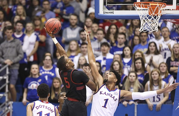 Stanford forward Kodye Pugh (5) gets up for a shot against Kansas forward Dedric Lawson (1) during the first half on Saturday, Dec. 1, 2018 at Allen Fieldhouse.