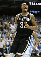 Wofford's Cameron Jackson reacts during the second half against North Carolina during an NCAA college basketball game in Chapel Hill, N.C., Wednesday, Dec. 20, 2017. Wofford upset North Carolina, 79-75. (AP Photo/Ellen Ozier)