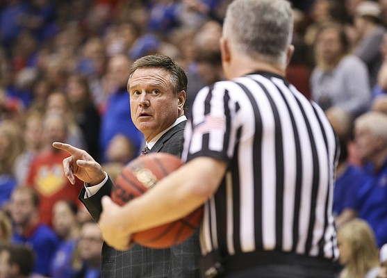 Kansas head coach Bill Self looks for clarification from an official during the second half on Tuesday, Dec. 4, 2018 at Allen Fieldhouse.