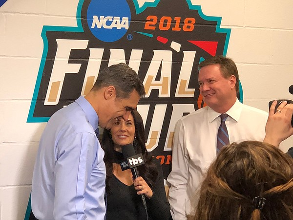 Kansas coach Bill Self and Villanova's Jay Wright during the pregame interview with CBS before last season's Final Four showdown in San Antonio.