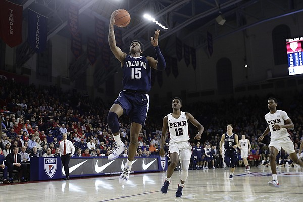 Villanova's Saddiq Bey in action during an NCAA college basketball game against Pennsylvania, Tuesday, Dec. 11, 2018, in Philadelphia. (AP Photo/Matt Slocum)