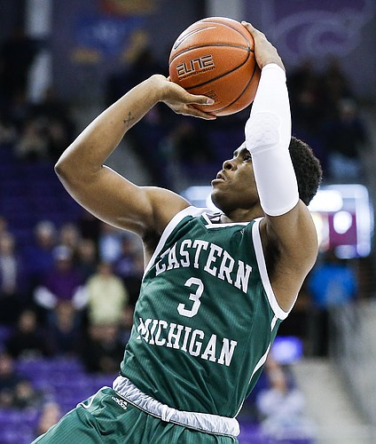 Eastern Michigan guard Paul Jackson (3) during the first half of an NCAA college basketball game against TCU, Monday, Nov. 26, 2018, in Fort Worth, Texas. TCU won 87-69. (AP Photo/Brandon Wade)