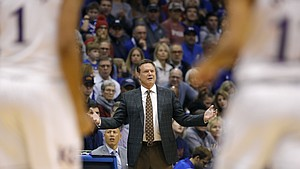 Kansas head coach Bill Self reacts to a turnover during the first half of an NCAA college basketball game against Eastern Michigan Saturday, Dec. 29, 2018, in Lawrence, Kan.