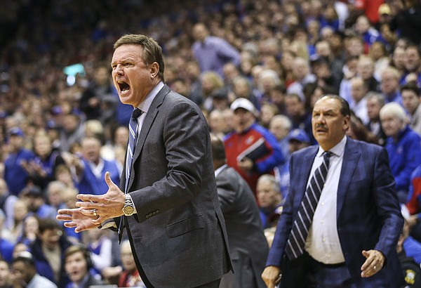Kansas head coach Bill Self disputes a charging call against Kansas guard Devon Dotson (11) during the second half, Wednesday, Jan. 2, 2019 at Allen Fieldhouse.