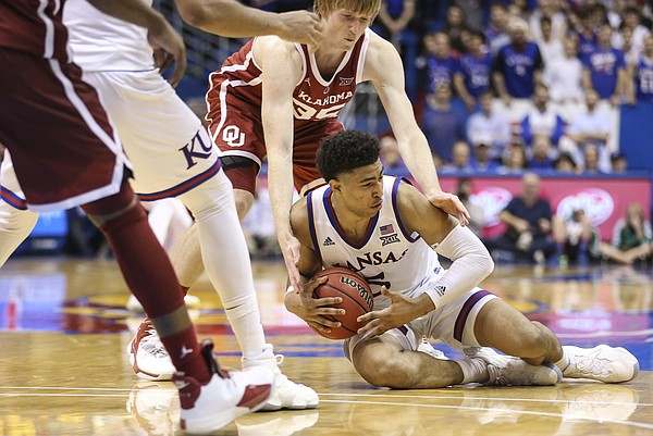 Kansas guard Quentin Grimes (5) recovers a ball after losing it on the dribble during the second half, Wednesday, Jan. 2, 2019 at Allen Fieldhouse.