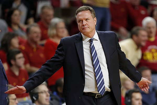 Kansas head coach Bill Self reacts after a call against his team during the first half of an NCAA college basketball game against Iowa State, Saturday, Jan. 5, 2019, in Ames, Iowa.