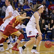Senior guard Kylee Kopatich (33) drives the lane past an Iowa State defender in a game at Allen Fieldhouse, January 5.
