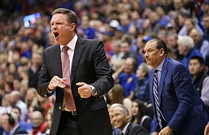 Kansas head coach Bill Self gets heated after a call agains the Jayhawks during the second half, Wednesday, Jan. 9, 2019 at Allen Fieldhouse.