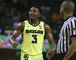 Baylor guard King McClure (3) during their game with Iowa State in the second half of an NCAA college basketball game, Tuesday, Jan. 8, 2019, in Waco, Texas. Baylor won 73-70. (AP Photo/Rod Aydelotte)