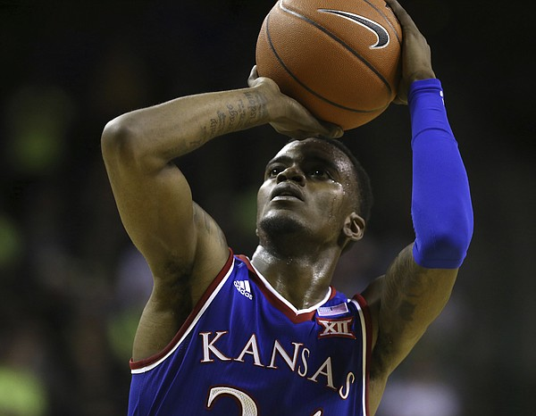 Kansas guard Lagerald Vick (24) shoots a free throw against Baylor in the second half of an NCAA college basketball game, Saturday, Jan. 12, 2019, in Waco, Texas. (AP Photo/Jerry Larson)