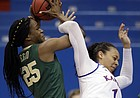 Baylor center Queen Egbo (25) rebounds against Kansas center Chelsea Lott (1) during the first half of an NCAA college basketball game in Lawrence, Kan., Wednesday, Jan. 16, 2019. (AP Photo/Orlin Wagner)