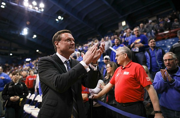Kansas head coach Bill Self claps his hands as the leaves the court following the Jayhawks' 80-76 win over the Cyclones on Monday, Jan. 21, 2019 at Allen Fieldhouse.