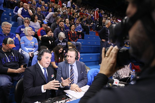 ESPN broadcaster Fran Fraschilla delivers his pregame breakdown, Monday, Jan. 21, 2019 at Allen Fieldhouse.