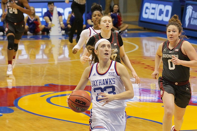 Kansas senior Kylee Kopatich (33) drives to the basket in a game against Oklahoma Wednesday night at Allen Fieldhouse. KU won 88-79.