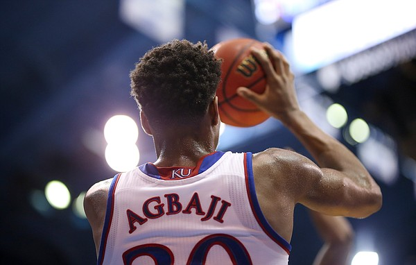 Kansas guard Ochai Agbaji (30) throws in a pass during the first half, Saturday, Feb. 2, 2019 at Allen Fieldhouse.
