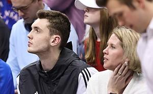 Kansas recruit Matthew Hurt watches the second half action on Saturday, Feb. 2, 2019 at Allen Fieldhouse.