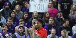 Kansas guard Lagerald Vick (24) takes some jeers as he and the Jayhawks take the court for warmups, Tuesday, Feb. 5, 2019 at Bramlage Coliseum.