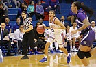 Brianna Osorio (2) takes the ball up the court in a game against Kansas State, Wednesday, Feb. 6, 2019, at Allen Fieldhouse.