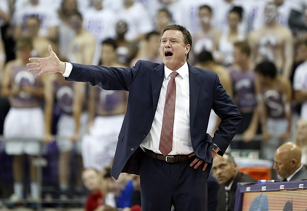 Kansas head coach Bill Self instructs his team in the first half of an NCAA college basketball game against TCU in Fort Worth, Texas, Monday, Feb. 11, 2019. (AP Photo/Tony Gutierrez)