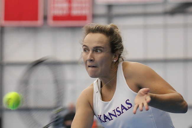 KU senior Janet Koch returns a ball in a match against Air Force Academy, at the Jayhawk Tennis Center,  February 24, 2019.