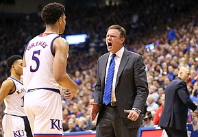 Kansas head coach Bill Self rips into Kansas guard Quentin Grimes (5) during the second half, Monday, Feb. 25, 2019 at Allen Fieldhouse.