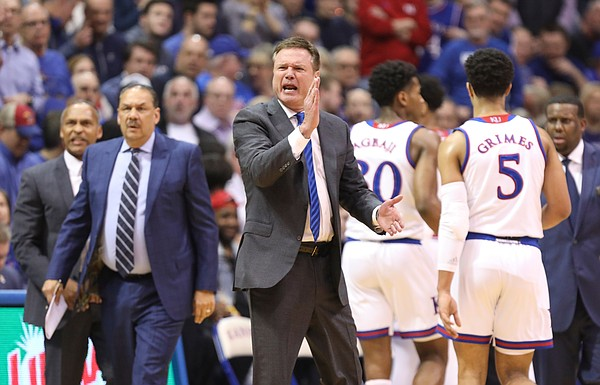 A frustrated Bill Self barks at the officials during a timeout in  the first half, Monday, Feb. 25, 2019 at Allen Fieldhouse.