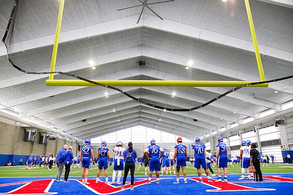 Kansas players line up in front of the south upright during football practice on Wednesday, March 6, 2019 within the new indoor practice facility.