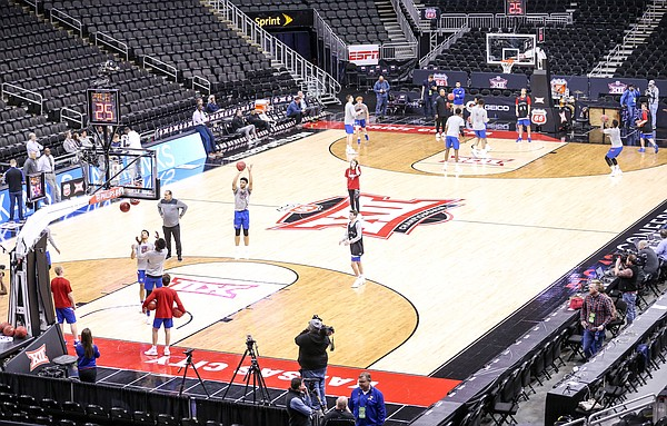 The Kansas Jayhawks shoot around during an open practice on Wednesday, March 13, 2019 at Sprint Center.