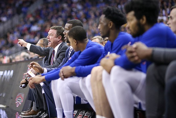 Kansas head coach Bill Self rips into an official during the second half, Thursday, March 14, 2019 at Sprint Center in Kansas City, Mo.