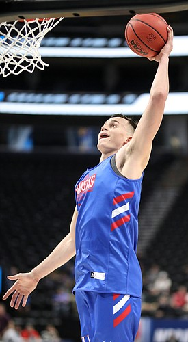 Kansas forward Mitch Lightfoot (44) comes in for a dunk on Wednesday, March 20, 2019 at Vivint Smart Home Arena in Salt Lake City, Utah. Teams practiced and gave interviews to media members before Thursday's opening round games.