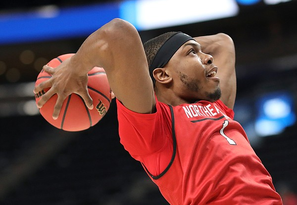 Northeastern guard Shawn Occeus (1) pulls back for a dunk on Wednesday, March 20, 2019 at Vivint Smart Home Arena in Salt Lake City, Utah. Teams practiced and gave interviews to media members before Thursday's opening round games.