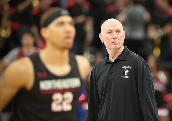 Northeastern head coach Bill Coen watches over practice on Wednesday, March 20, 2019 at Vivint Smart Home Arena in Salt Lake City, Utah. Teams practiced and gave interviews to media members before Thursday's opening round games.