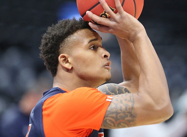 Auburn guard Bryce Brown (2) lines up a shot on Wednesday, March 20, 2019 at Vivint Smart Home Arena in Salt Lake City, Utah. Teams practiced and gave interviews to media members before Thursday's opening round games.