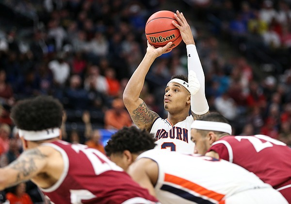 Auburn guard Bryce Brown (2) shoots a free throw against New Mexico State during the first half, Thursday, March 21, 2019 at Vivint Smart Homes Arena in Salt Lake City, Utah.