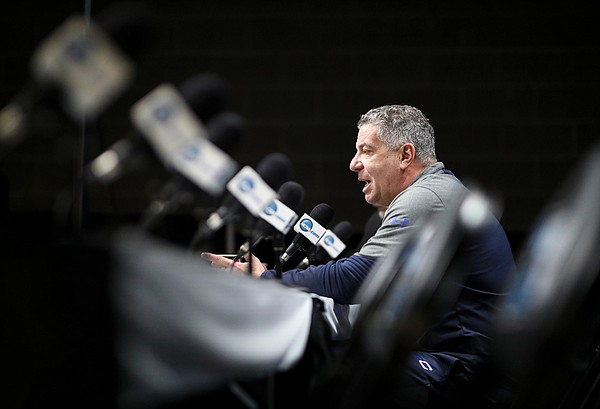 Auburn head coach Bruce Pearl talks with media members during a press conference on Friday, March 22, 2019 at Vivint Smart Homes Arena in Salt Lake City, Utah.
