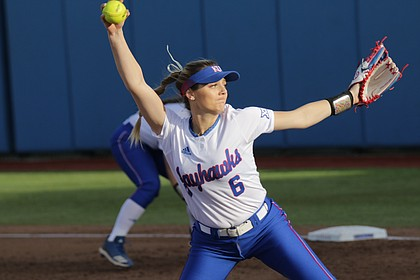 Kansas freshman Lexy Mills sends a pitch in a game against Nebraska Omaha, March 18 at Arrocha Ballpark. Mills threw a no-hitter in six innings with 10 strikeouts.