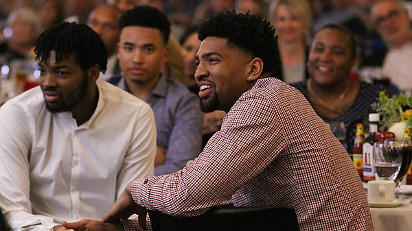 Dedric Lawson, this year's winner of the Danny Manning Mr. Jayhawk Award, watches the action during Tuesday's KU basketball banquet at the Burge Union on KU's campus. (Photo courtesy of Kansas Athletics)