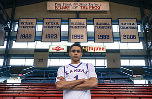 Four-star Class of 2019 prospect Tristan Enaruna attached this photo to the Twitter message he sent announcing his commitment to Kansas on Tuesday, May 7, 2019. Enaruna is a 6-foot-9, 205-pound forward from Netherlands who played his high school ball at Wasatch Academy in Mount Pleasant, Utah.