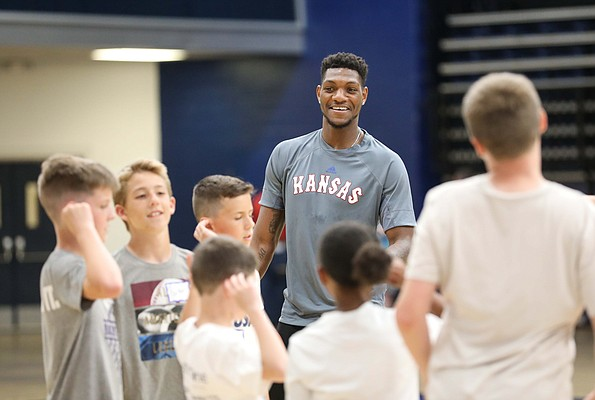 "Kansas forward Silvio De Sousa watches over a game of ""simon says"" during a Washburn University basketball camp on Tuesday, June 4, 2019 at Lee Arena in Topeka."