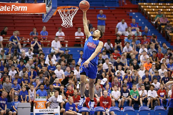 Kansas guard Devon Dotson cruises in for a layup during a scrimmage on Tuesday, June 11, 2019 at Allen Fieldhouse.