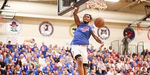 Blue Team guard Ben McLemore throws down a dunk during the Rock Chalk Roundball Classic on Thursday, June 20, 2019 at Eudora High School.