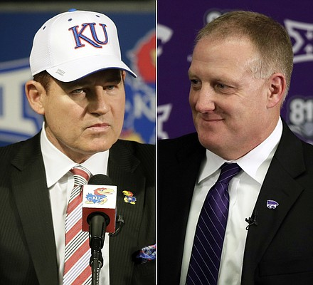 FILE - At left, in a Nov. 18, 2018, file photo, University of Kansas new football coach Les Miles makes a statement during a news conference in Lawrence, Kan. At right, in a Dec. 12, 2018, file photo, Chris Klieman is introduced as the 35th Kansas State NCAA college football head coach, in Manhattan, Kan.  Kansas and Kansas State both have new head coaches, and as Les Miles and Chris Klieman put the finishing touches on whirlwind recruiting classes, it is already clear that they will be butting heads for top recruits. (AP Photo/Orlin Wagner, File)