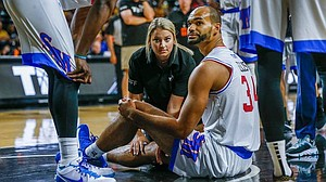 Former KU forward Perry Ellis, shortly after injuring his right knee in the TBT event in Wichita on July 25, 2019. (Photo courtesy Perry Ellis' Facebook page)