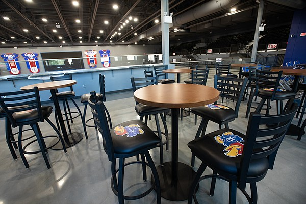 A feature for fans at the new Horejsi Family Volleyball Arena is a lounge and an east side mezzanine. The arena is pictured Wednesday, Sept. 11, 2019.