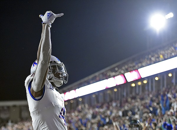 (Boston, MA, 09/13/19) Kansas Jayhawks wide receiver Andrew Parchment (4) celebrates a touchdown against the Boston College Eagles during the first half of an NCAA football game at Boston College in Boston, Mass., on Friday, September 13, 2019.