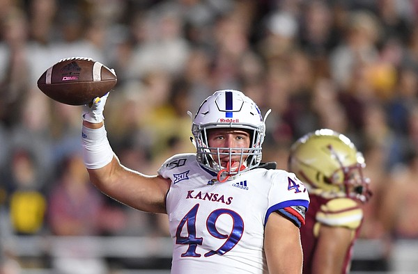 (Boston, MA, 09/13/19) Kansas Jayhawks fullback Hudson Hall (49) celebrates after scoring a touchdown against the Boston College Eagles during the first half of an NCAA football game at Boston College in Boston, Mass., on Friday, September 13, 2019.