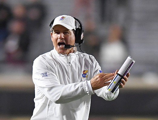 (Boston, MA, 09/13/19) Kansas Jayhawks head coach Les Miles calls a timeout during the second half of an NCAA football game against Boston College in Boston, Mass., on Friday, September 13, 2019.