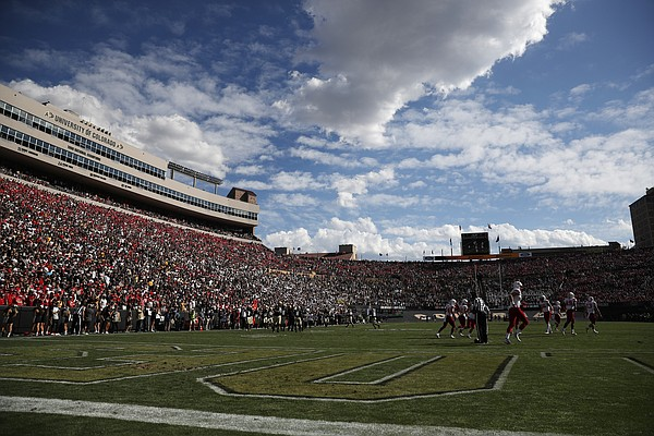 Cloud over Folsom Field in the second half overtime of an NCAA college football game Saturday, Sept. 7, 2019, in Boulder, Colo. Colorado won 34-31 in overtime. (AP Photo/David Zalubowski)